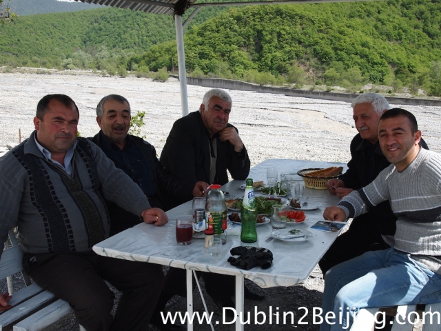 These nice guys gave me lunch and refused money. This happened a few times in Azerbaijan. Lovely people, very hospitable.