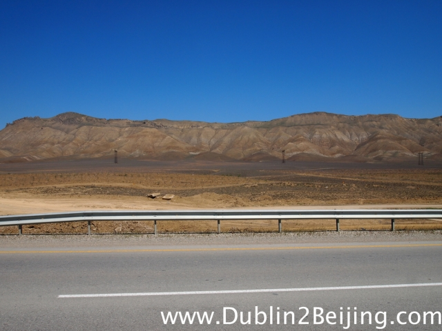 The semi-desert on the way to Baku.