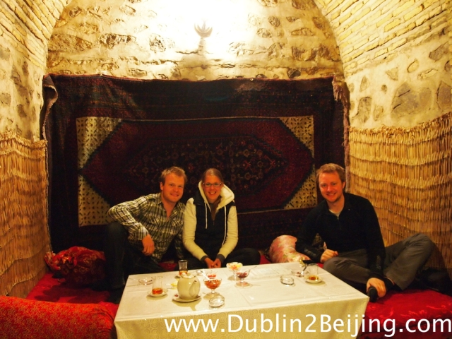 Tea with Beat and Miriam, from Switzerland, in the Caravanserai in Sheki