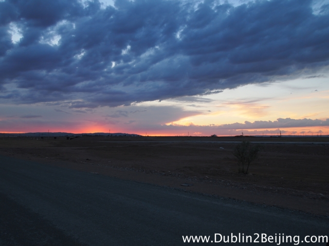Ominous looking clouds during an beautiful sunset in the semi desert 160km from Almaty