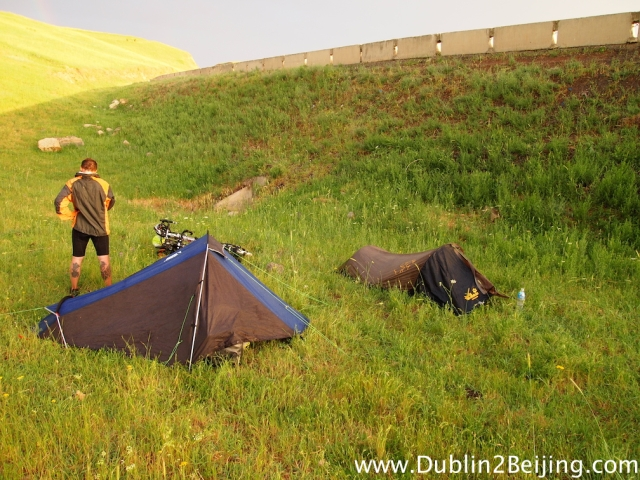 Our first night camping wasn't in a great spot, very visible from the road, but we got out of the rain quickly.