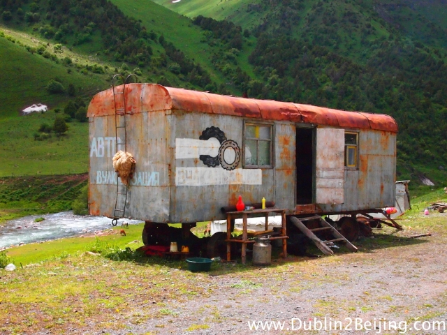 These old trailers are all along the road selling honey and fermented horse milk.