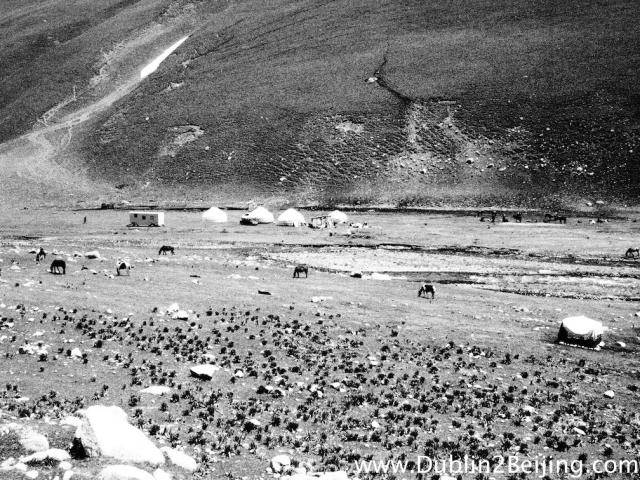 This is rural Kyrgyzstan. Yurts. Horses. Nomadic people.