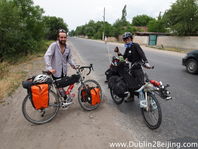 We met this Japanese guy on a recumbent bicycle. Tough going on the hills