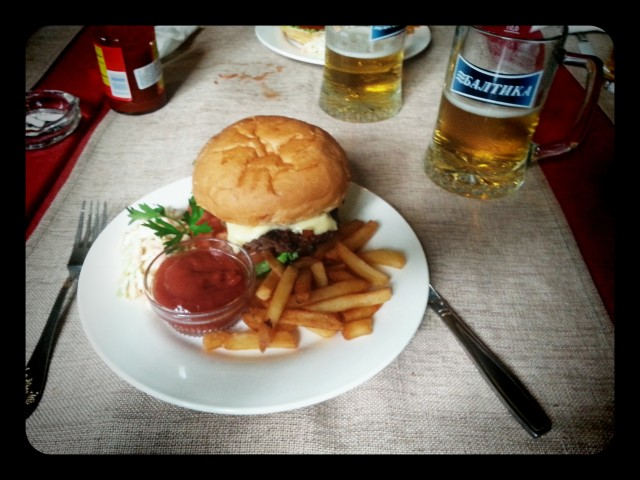 Bishkek Burgers; $7 a pop, but look at it. Look at it! Beautiful!