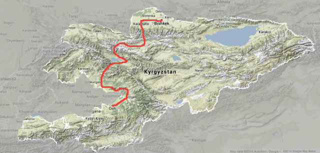 This is the route we took through the mountains of Kyrgyzstan. Mad terrain!