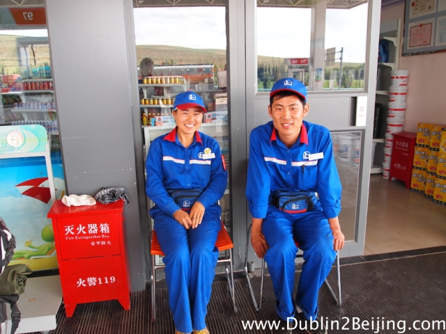 Chinese petrol station attentands