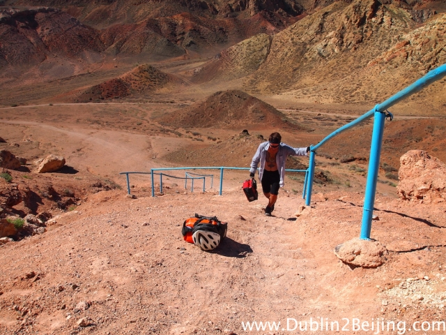 """Getting out of the canyon was horrific in the heat. This little """"stairway"""" was a nightmare to get up! It took several trips."""