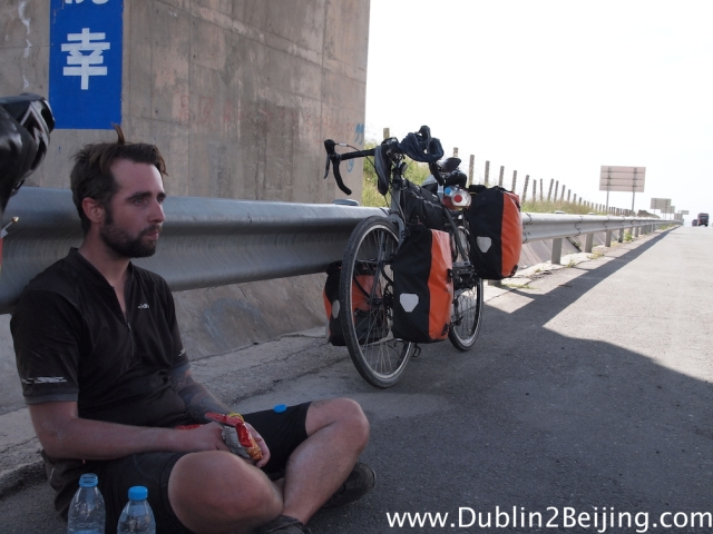 James, looking slightly depressed during yet another break under a bridge to hide from the scorching sun