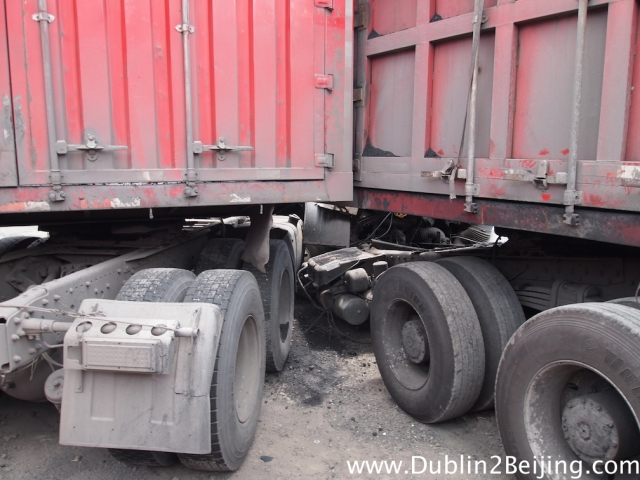 The two trucks after they crashed