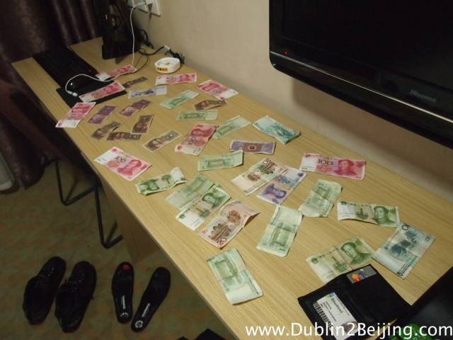 Drying out my wallet and its contents in the hotel. EVERYTHING was soaked through. The girl in the hotel put my payment out to dry for a while. Ridiculous.