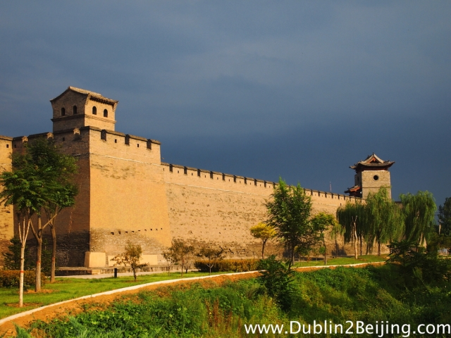The walls of ancient Pingyao. I was happy to see them - shelter from the wind!